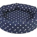 Rund myspöl för barn, blå med vita stjärnor